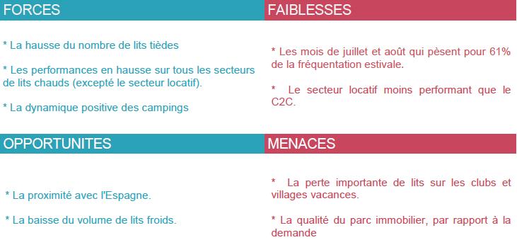 Forces, faiblesses, opportunités et menaces concernant la fréquentation touristique en Haute Ariège